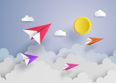 paper plane on blue sky with cloud