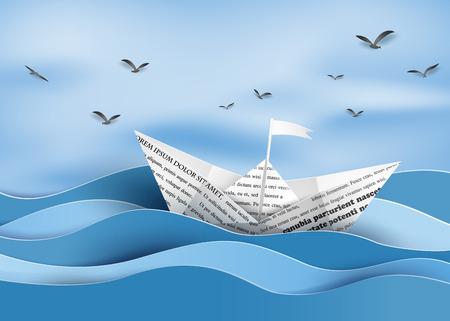 origami made paper sailing boat Illustration