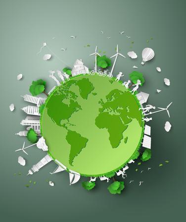 Het concept van eco .paper gesneden stijl