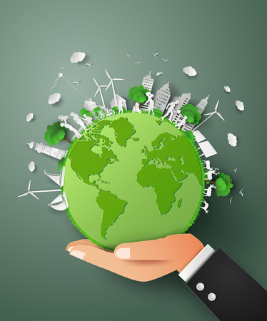 hand paper: concept of eco world on hand .paper cut style Illustration