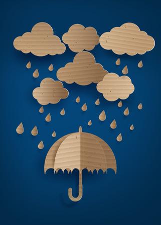 wet flies: cardboard umbrella in the air with rainning