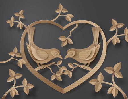 심장 모양을 형성하는 나무의 지점에 자리 잡고 사랑 새와 판지