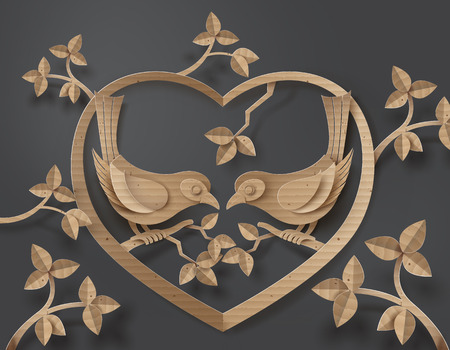 birds on branch: cardboard with love Birds perched on a branch of a tree forming a heart shape