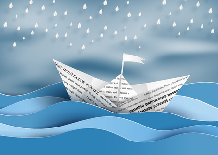 sea transport: origami made paper sailing boat  and  raining