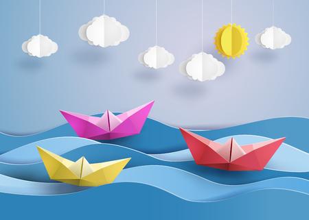 voilier ancien: origami fait du papier coloré bateau à voile