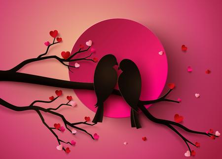 Papercut con aves de amor posado en una rama de un árbol.