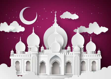 The mosque and the sky at night with half moon.paper cut style. Vectores