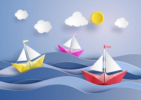 カラフルな紙のセーリング ボート折り紙