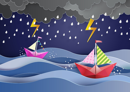 cartoon cloud: origami made colorful paper sailing boat  and  raining