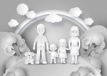perro familia: Familia feliz que se .black diversión y el estilo de corte de papel blanco.