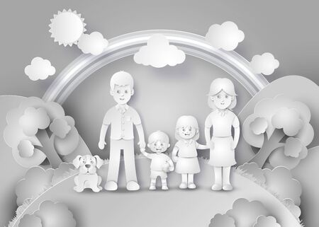 kid portrait: Happy family having fun .black and white paper cut style.