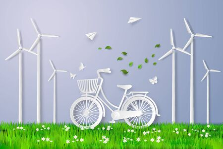 wind mill: bicycle in the field with wind mill. Illustration