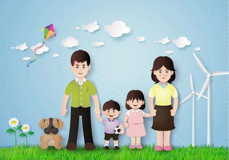kid portrait: Happy family having fun in the field.