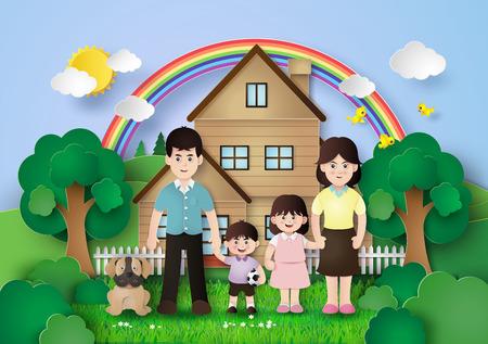 niños riendose: Familia feliz que se divierte con el hogar