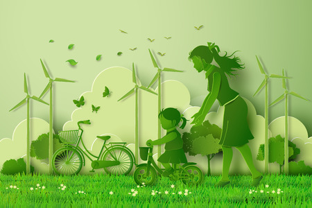 ecological: Mother and daughter  in the park.