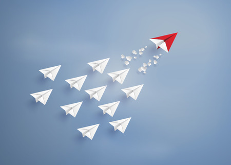 leadership concept with red and white paper plane on blue sky.paper art style. Vectores