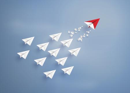 Koncepcja przywództwa z czerwonym i białym papierze samolot na niebieskim sky.paper sztuki stylu.