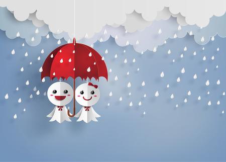 Origami制作日本纸玩偶反对雨,Teruterubozu