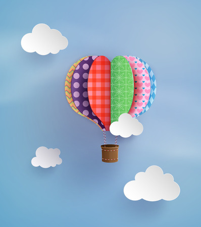 hot couple: Origami made colorful hot air balloon and cloud.paper art style. Illustration