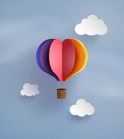 折り紙は、ハート形の熱気球。
