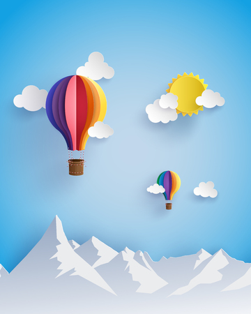 sky clouds: Origami made colorful hot air balloon flyin over moutain with cloud.paper art style.