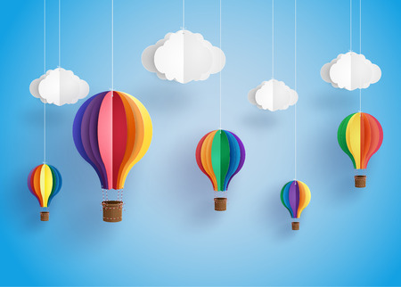 Origami made colorful hot air balloon and cloud.paper art style. Çizim