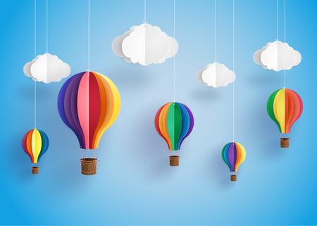 Origami wykonany kolorowy balon gorącego powietrza i cloud.paper stylu sztuki.