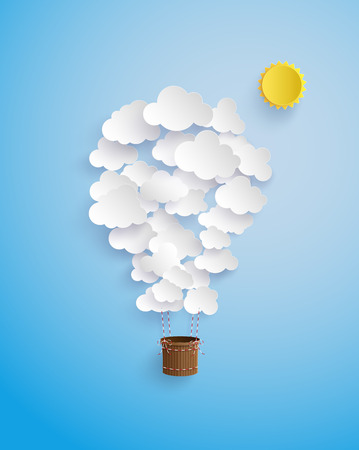 Cloud shape balloon flying on sky with sun.paper art style.