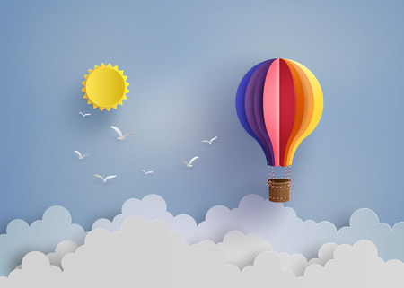Origami made colorful hot air balloon and cloud.paper art style. Stock Illustratie