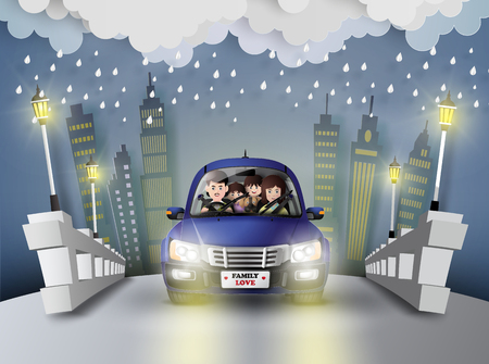 pape: Funny family driving the car with the raining.paper art style.
