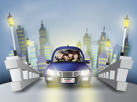 pape: Funny family driving the car in big city.paper art style.