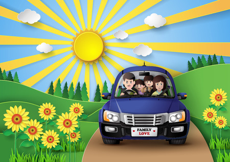 pape: Funny family driving in car on weekend  holiday.paper art style. Illustration