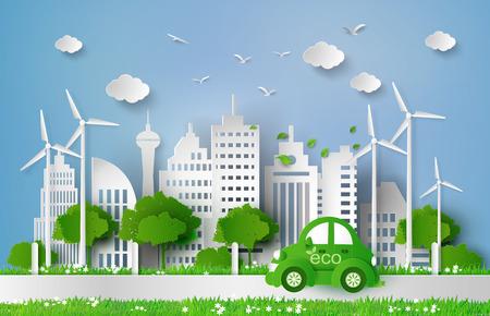 Eco-vriendelijke auto in de city.paper kunststijl. Stock Illustratie