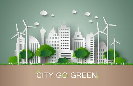 Het concept van eco met het bouwen en nature.paper kunststijl.