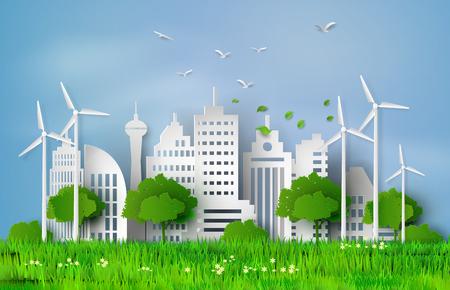 ecosistema: concepto de eco con la construcción y el estilo del arte nature.paper.