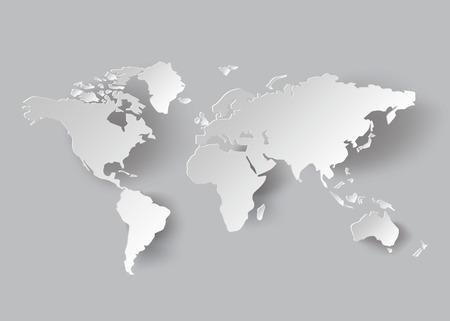 vector World map .paper cut style.