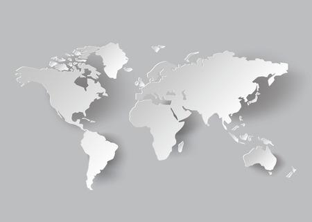 世界地図 .paper のカット スタイルをベクトルします。