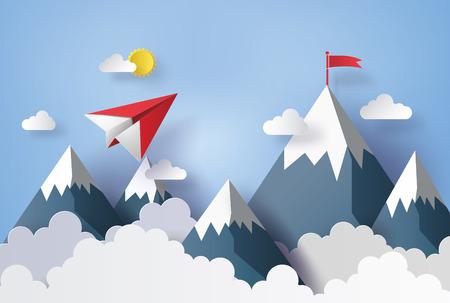 Ilustración del paisaje natural y el concepto de negocio, avión de papel volando en el cielo con nubes y mountian.Diseño por arte de papel y estilo artesanal