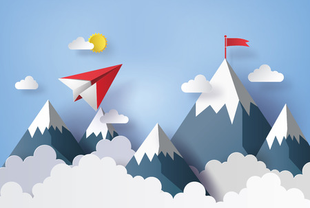 paper craft: ilustración de paisaje de la naturaleza y el concepto de negocio, avión de papel volando en el cielo con nubes y mountian.design por el arte y el estilo de papel artesanal