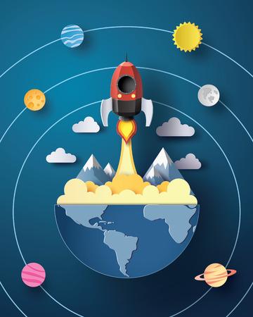 スペース ロケット打ち上げと銀河 .paper アート スタイル。  イラスト・ベクター素材