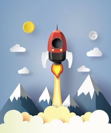 Poner en marcha una idea de negocio. cohete de volar en el estilo de aire ert papel.