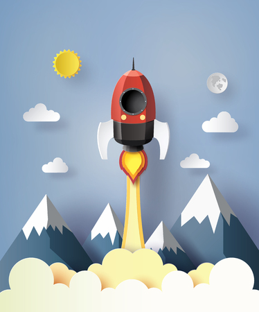 cut paper: Start up business concept. rocket  flying on the air,paper ert style. Illustration