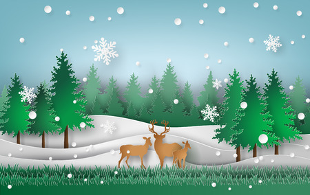 Deer in the forest with Christmas trees and snow falling.paper art style.