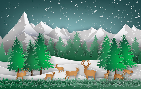 snow forest: Deer in the forest with Christmas trees and snow falling.paper art style.