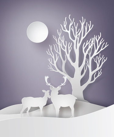 wintery: Deer couple standing together in a field of snow with tree branches,in the Christmas day .paper art style.