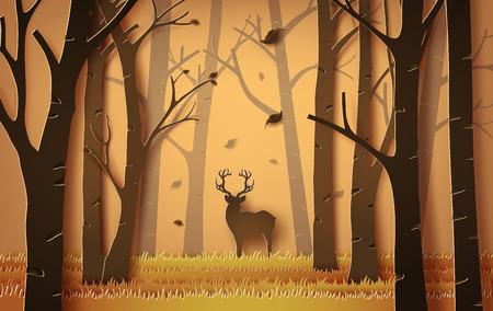 떨어지는 단풍과 단풍 숲에서 사슴. 종이 아트 스타일.