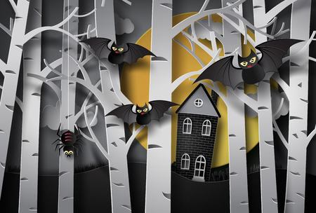 Happy halloween greeting card.paper art style. Illustration