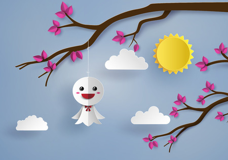 paper art: Origami made Japanese paper doll,teruterubozu paper art style. Illustration