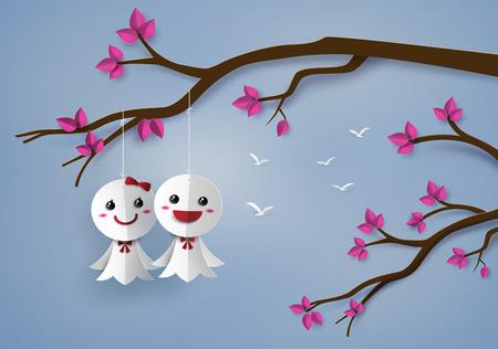 storm clouds: Origami made Japanese paper doll against rain,teruterubozu paper art style.