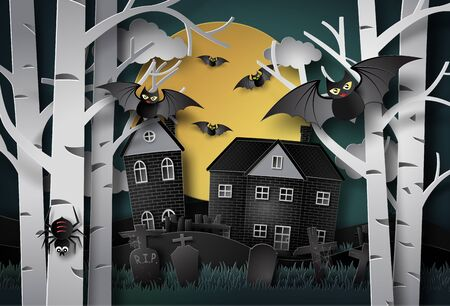 Happy halloween greeting card.paper art style. Çizim